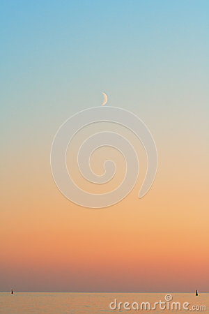 Beautiful sunset with monn