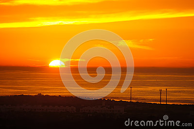 Beautiful sunset over the Atlantic Ocean, Morocco
