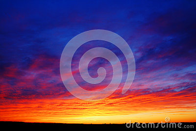 Beautiful sunset over fields