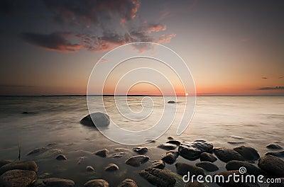 Beautiful sunset over the Swedish coastline