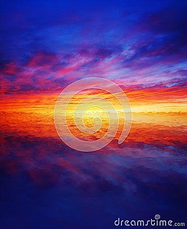 Beautiful sunset over water