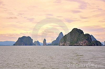 Beautiful sunset in Phang Nga Bay.