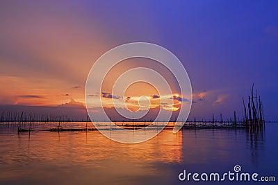 Beautiful sunset and ray