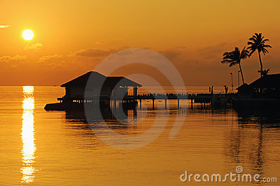 Beautiful sunset scene in tropical resort