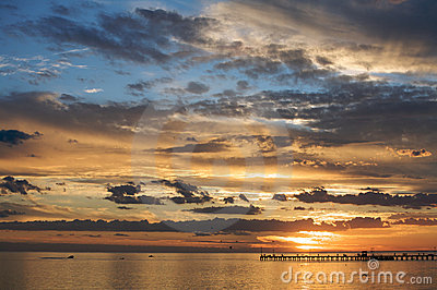 A beautiful sunset setting over the sea