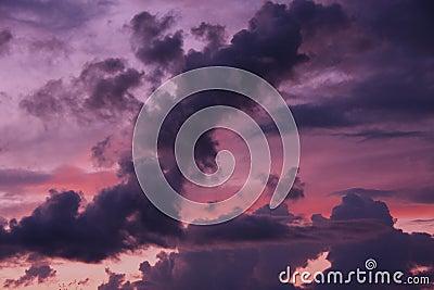 Beautiful sunset in sky