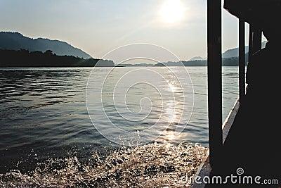 Beautiful sunshiny boat trip along Mekong River
