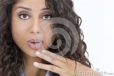 Beautiful Surprised Hispanic Woman or Girl