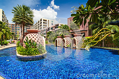 Beautiful swimming pool in hotel, Thailand