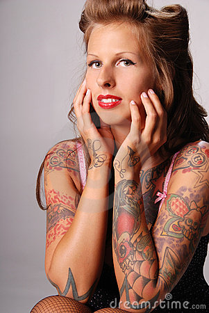 Beautiful tattooed woman.