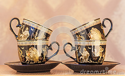 Beautiful tea cups and saucers Stock Photo
