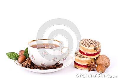 Beautiful tea set with cupcakes