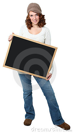 Beautiful Teen Girl with Chalkboard