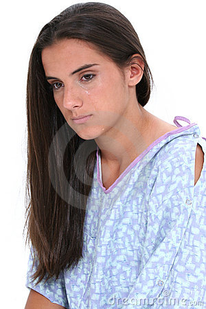 Beautiful Teen Girl In Hospital Gown Crying