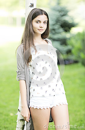 Beautiful teen girl outdoor