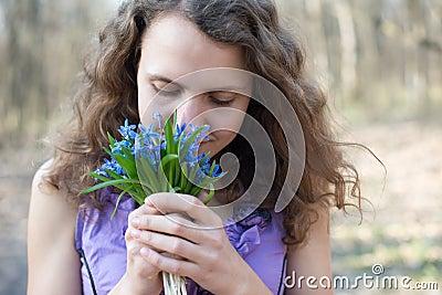 Beautiful teen girl smell