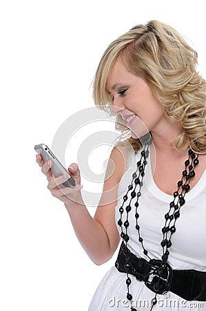 Beautiful teen girl test messaging