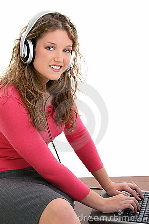 Free Beautiful Teen Girl With Headphones And Laptop Stock Images - 218344