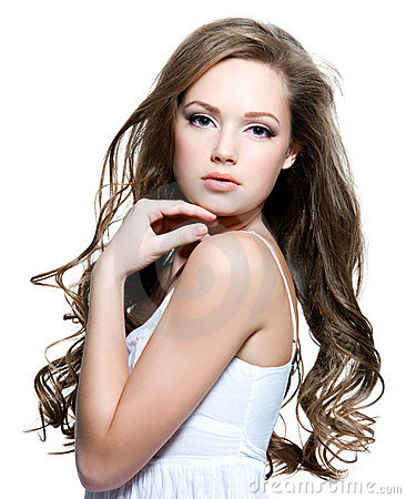 Free Beautiful Teen Girl With Long Curly Hairs Stock Photography - 21729092