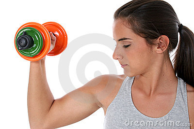 Beautiful Teen Girl Working Out With Hand Weights