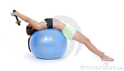 Beautiful Teen Girl In Workout Clothes On Exercise Ball