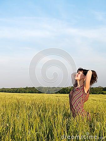 Free Beautiful Teen Lady Closed Eyes In Field Stock Photo - 5497960