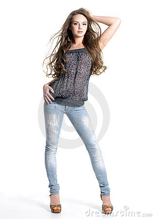 Beautiful teen model in jeans