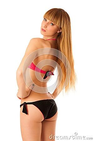 beautiful teenage girl in bikini swimwear stock photo