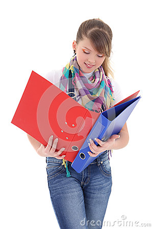 Beautiful teenage girl with folders isolated over white