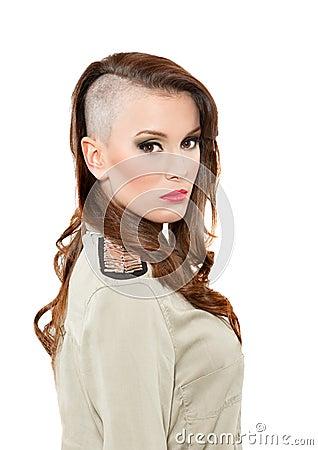 Teenage  with interesting hairdo
