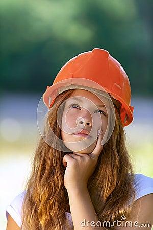Beautiful teenage girl in an orange