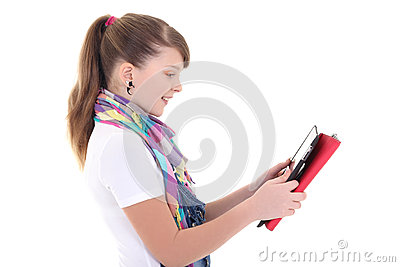 Beautiful teenage girl with tablet pc