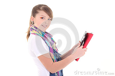 Beautiful teenage girl with tablet pc over white