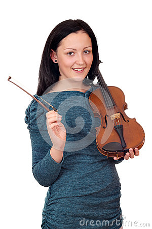 Beautiful teenage girl with violin portrait