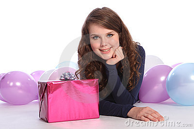 Beautiful teenager girl birthday party with gift