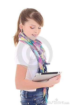 Beautiful teenager holding tablet pc over white