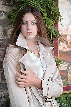 Beautiful Teenager In Jacket Outside