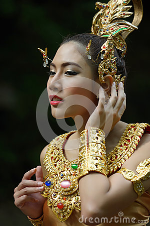 Beautiful Thai lady in Thai traditional drama dress