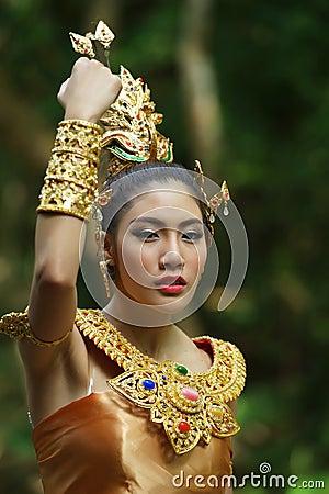 Beautiful Thai lady in Thai traditional drama dress