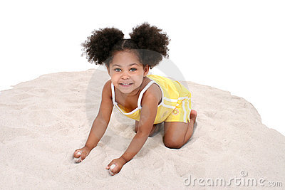 Beautiful Three Year Old Girl Playing In Sand