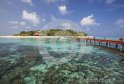 Beautiful tiny island in Maldives. Stock Photo