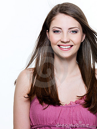 Beautiful toothy smiling woman