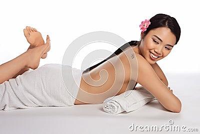 Beautiful topless Asian woman
