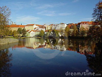 The beautiful town Pisek on the river Otava