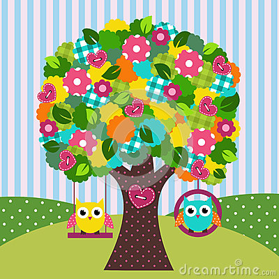 Free Beautiful Tree With Owls On Swings Stock Photography - 34582792