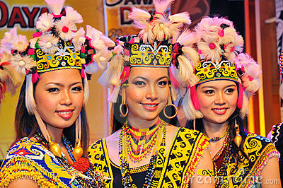 Borneo Tribal Girls Editorial Stock Photo