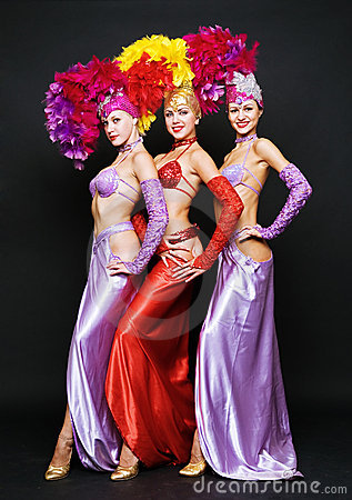 Beautiful trio in stage costumes