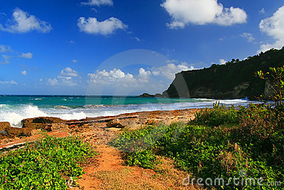 Beautiful tropical beach in Aguadilla, Puerto Rico