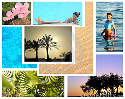 Beautiful tropical resort shots collage