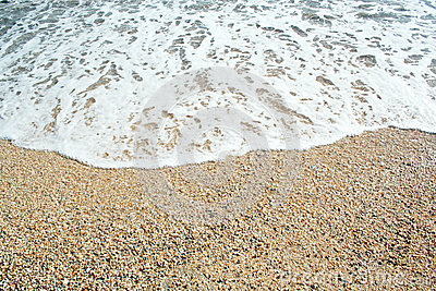 Sands beach and waves of crystal clear blue waters